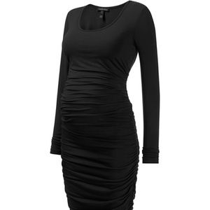Isabella Oliver Ruched Black Long Sleeved Midi